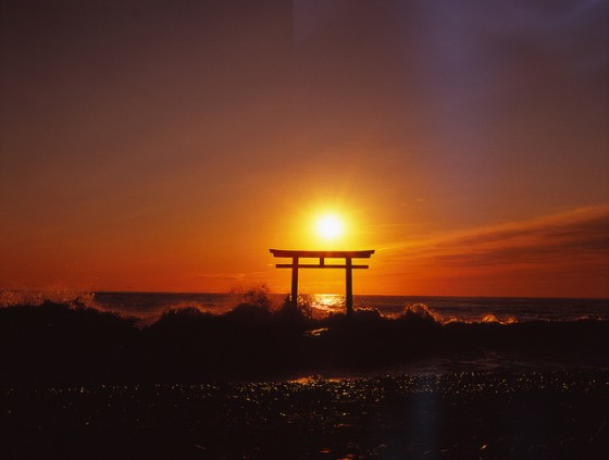 Solnedgang i Ibaraki med torii