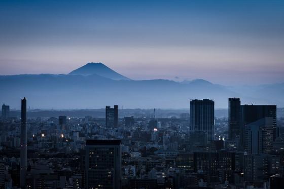Fujisan set fra Tokyo