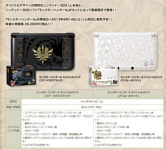 Monster Hunter 4 konsol pakker