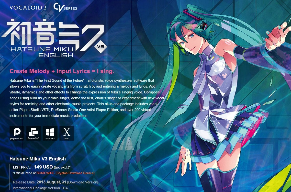 Udgivelsesdato for Hatsune Miku V3