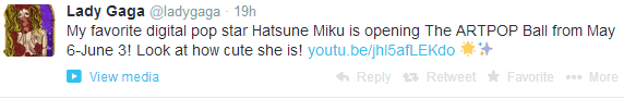Hatsune Miku åbner for Lady Gaga