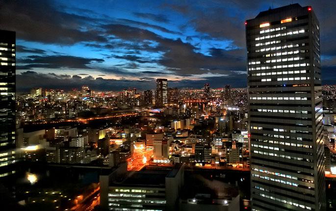 Japan foto: Osaka om natten