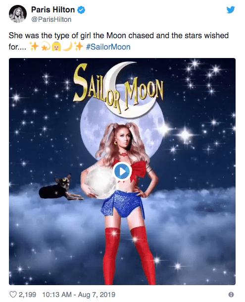 Paris Hilton klæder sig ud som Sailor Moon og fejler