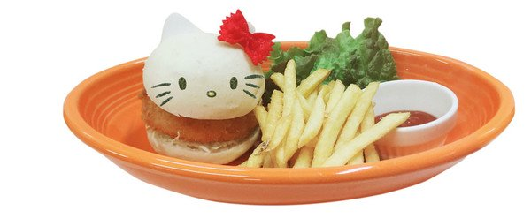 Hello Kitty's Gratin Croquette Burger (1500 yen)